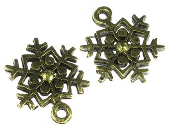 6 Antiqued Gold Snowflake Charms Jewelry Findings 249