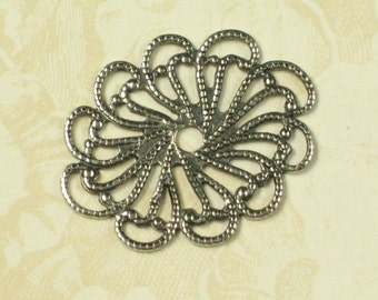 Oval Filigree Jewelry Findings Antique Silver 380 - 6 pcs