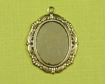 12 Antique Gold Cameo Setting 18x13 Jewelry Finding 588