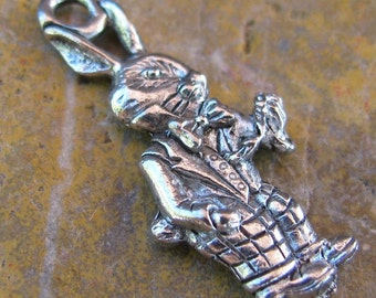 6 Silver White Rabbit Charm Jewelry Findings 1172