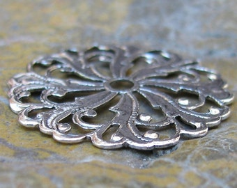 6 Antiqued Silver Brass Round Filigree Jewelry Findings 327