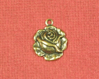 Antique Gold Brass Rose Charms Jewelry Findings 429 - 12 pieces