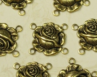 12 Antique Gold Rose 4 Hole Connector Jewelry Findings 428