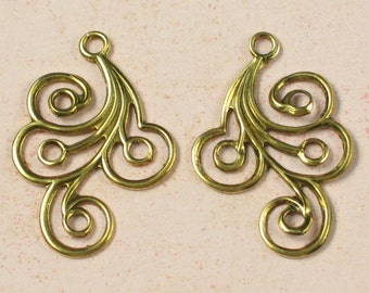 6 Antique Gold Plated Brass Earring Filigree Findings 225
