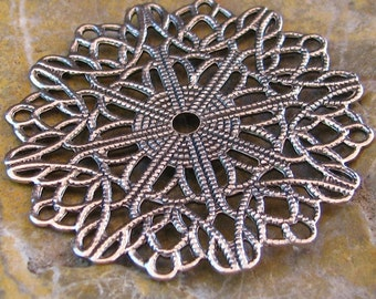 3 Antique Silver Round Filigree Jewelry Findings 449