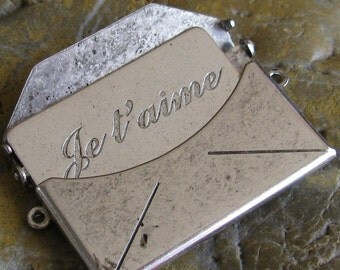 1 Large Antique Silver Brass Je t'aime Love Letter Smooth  Envelope Finding 745J