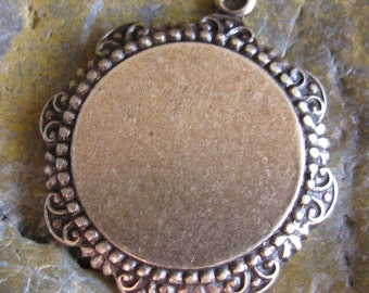 1 Oxidized Brass Pendant Setting with Glue Pad Jewelry Finding 1178