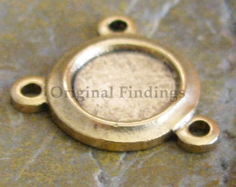 6 Antique Gold 3 hole Connector Jewelry Setting Supplies 208