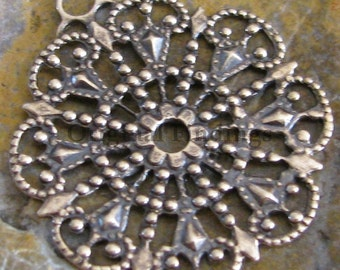 Round Antiqued Brass Filigree 1 Rings Jewelry Findings 1022 - 6 pcs