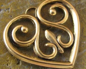 6 Antique Gold Brass Scrapbook Heart Charm Pendent 48