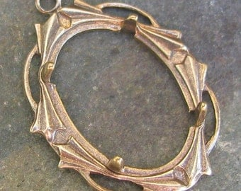 Pendant Setting with Prongs Antique Brass 18x13 Pendant findings 1303 - 3 pieces
