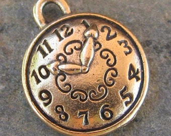 6 Antique Gold Round Clock Watch Bracelet Charms Jewelry Findings 1316
