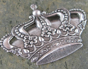 6 Silver King Crown Embellishment Jewelry Finding 496