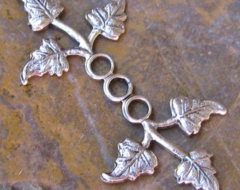 Brass Leaves Metal stamping embellishments Cold Connections Antiqued Silver 1346 - 6 pieces