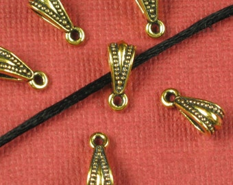 6 Antique Gold Bails Pendents Jewelry Findings 413