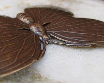 Butterfly Metal Stampings Antiqued Brass Jewelry Finding Embellishment 1340 - 2 Pieces