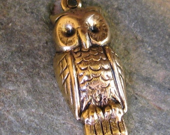 Owl Bird Charms Antique Gold Jewelry Findings 799 - 12 Piece