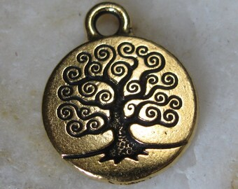 Tree of Life Charms for Necklace Pendants Antiqued Gold 863