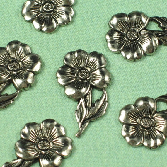 6 Antique Silver Flower Brass Metal Stamping Findings 420