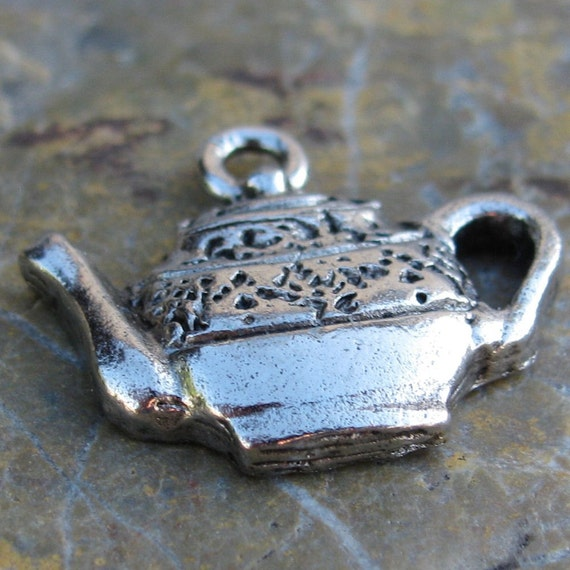 6 Antique Silver Tea Pot Charms Jewelry Findings 694