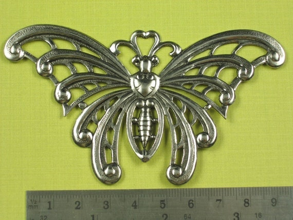 1 New Antique Silver Brass Butterfly Embellishment 424