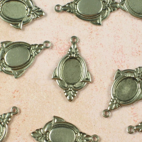 Cameo Setting 8x6 Jewelry Setting Supplies for Flat Back Rhinestones Antique Silver 621 - 12 Pieces
