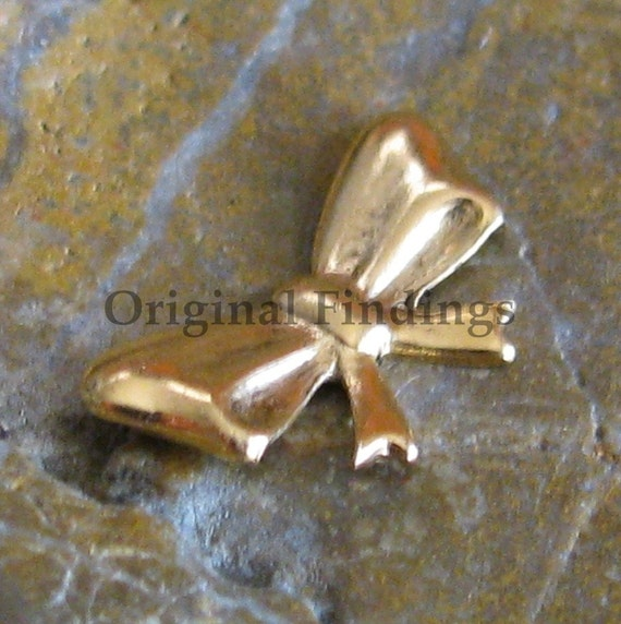 6 Antique Gold Small Bow Metal Stamping Jewelry Findings 287