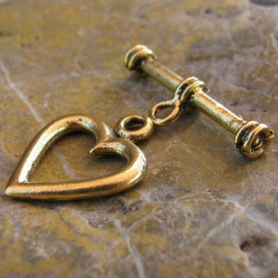 6 Antique Gold Pewter Heart Toggle Clasp Jewelry Finding 2