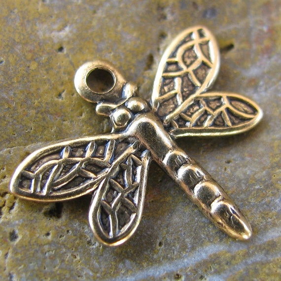 12 Antique Gold Dragonfly Charms Jewelry Findings 238