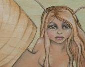 Snailette - Original Painting on Wood