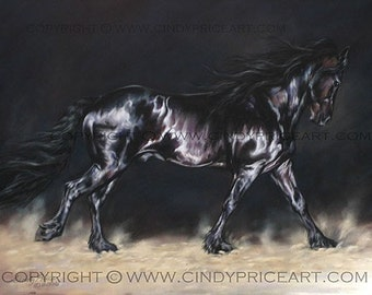 Out of the Dark - Friesian Horse Print of pastel painting