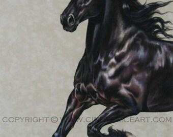 Friesian Black Horse Original Pastel