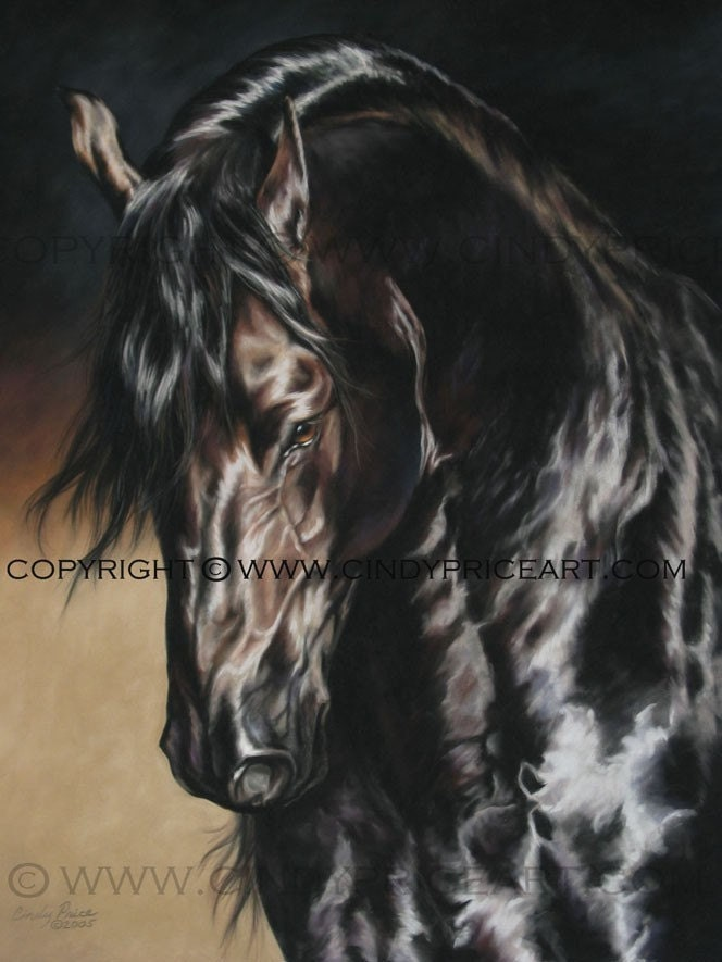 Friesian Black Horse Print Of Pastel Painting Equine Art By