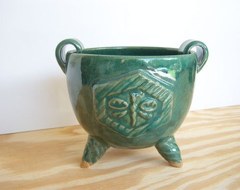 Stoneware Dragonfly Planter Pot in Green Glaze