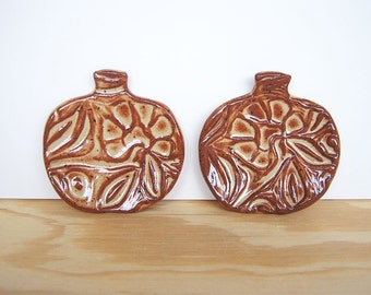 Ceramic Pumpkin Trinket Dishes in Shino Glaze - Set of 2