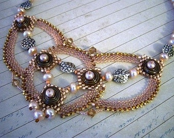 Mocha Disc and Pearls Beadweaving Necklace - Peyote Stitch Bead Weaving Necklace