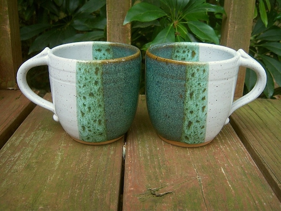 Sea Mist and White Cups - Set of 2