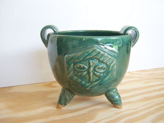 Stoneware Dragonfly Planter Pot in Green Glaze