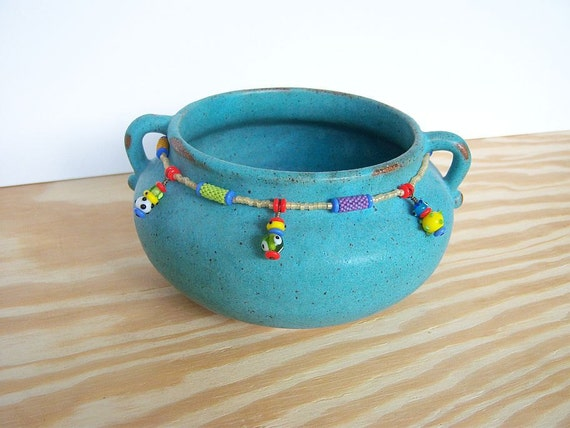 Stoneware Turquoise Pot with Beaded Beads
