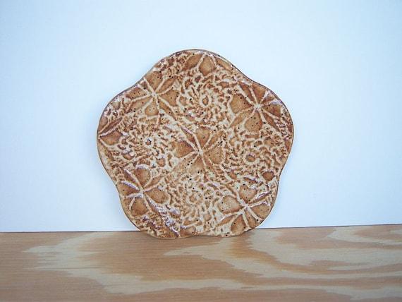 Stamped Textured Trinket Plate in Speckled Tan Glaze