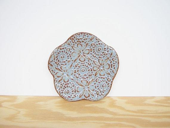 Blue Shino Textured Stoneware Footed Trinket Dish