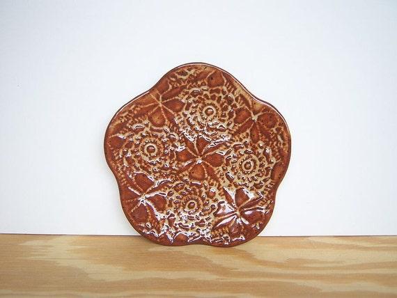 Stamped Textured Trinket Plate in Shino Glaze