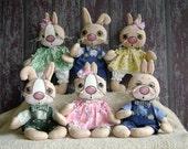 CF263 Silly Wabbits - Babies - PDF ePattern Cloth Pattern Rabbit Bunny Dolls
