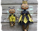 CF271 Queenie Bee & Lil' Bumbles - Cloth Doll Pattern PDF ePattern Cloth Bee Dolls