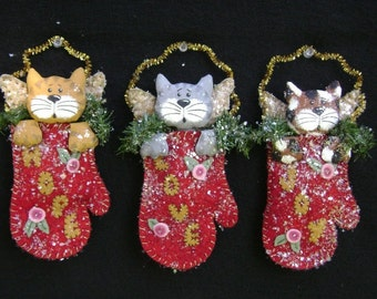 CF258 PDF Three Little Kittens Sewing Cloth Cats Ornaments E-Pattern