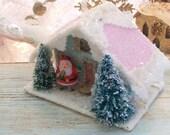 Vintage Putz Style Glitter House Christmas Tree Ornament Sugar House Santa Bottle Brush Tree