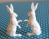 SALE Buy 3 Get 1 FREE  6 Large Vintage German Miniature White Rabbits Sugar Eggs Terrariums  Dioramas Ornaments Alice in Wonderland