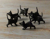 Buy 3 Get 1 FREE Set of 12 Vintage German Miniature Black Cats New Old Stock Cake Toppers Doll House Halloween