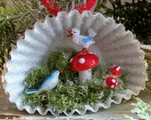 Heirloom Shadow Box / Magical Woodland Birds Toadstools Diorama / Altered Art Christmas Ornament / Christmas in July