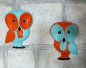Vintage Retro Mod 1970s Hand Painted Upcycled Barn Owl Owls Baby Home Interiors Aqua Orange Childs Wall Decor